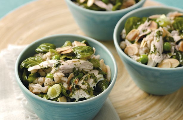 Warm chicken and barley salad