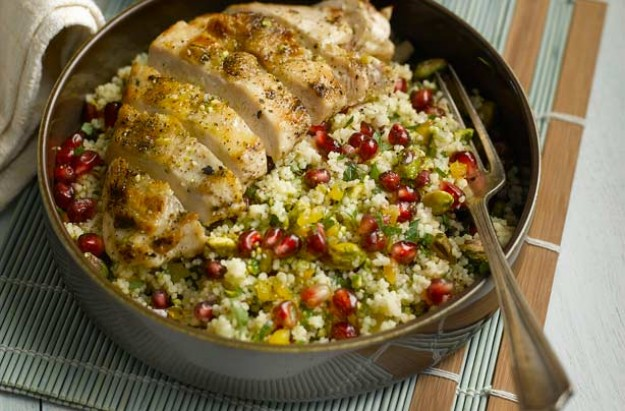 Grilled chicken, pomegranate and pistachio couscous recipe ...