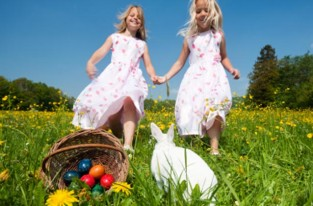 Two girls on an Easter egg hunt