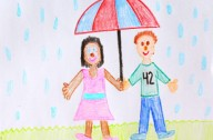 kids' drawing of 2 children with an umbrella, having fun in the rain