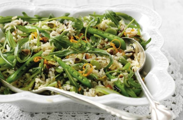 Make a substantial meal of fresh spring veg with wild rice. This healthy meal is suitable for vegetarians