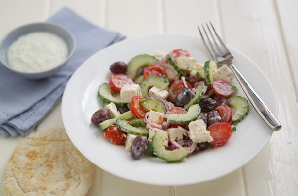 Greek salad with honey and mint dressing