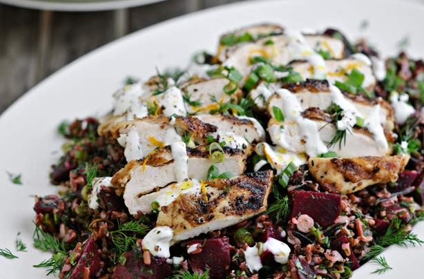 Chicken, beetroot and rice salad