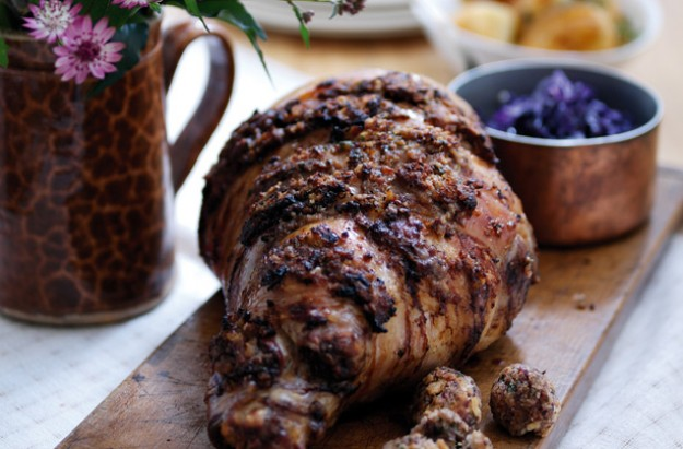Roast leg of lamb with date and herb stuffing