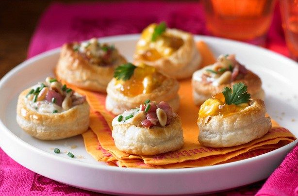Cheese and bacon and Coronation chicken vol au vents