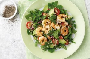 Avocado and prawn salad