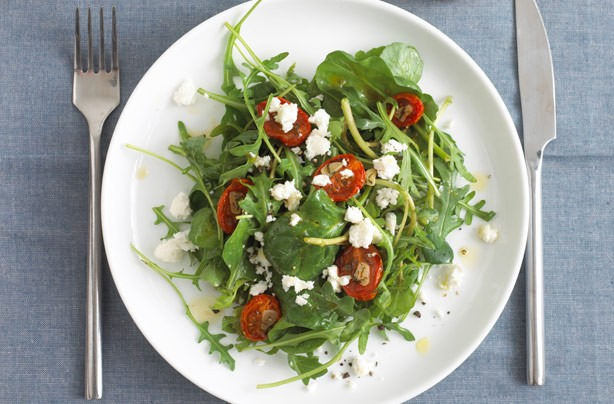 Slow roasted tomato salad with feta