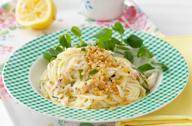 linguine with crab and mint recipe - goodtoknow