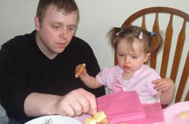 Lorna's little girl with her dad