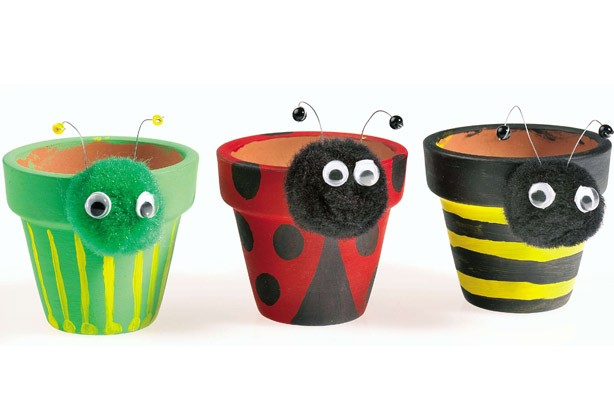 Garden crafts for kids: plant pot pets