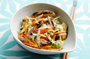 Sticky roast chicken with oriental shallot and carrot salad