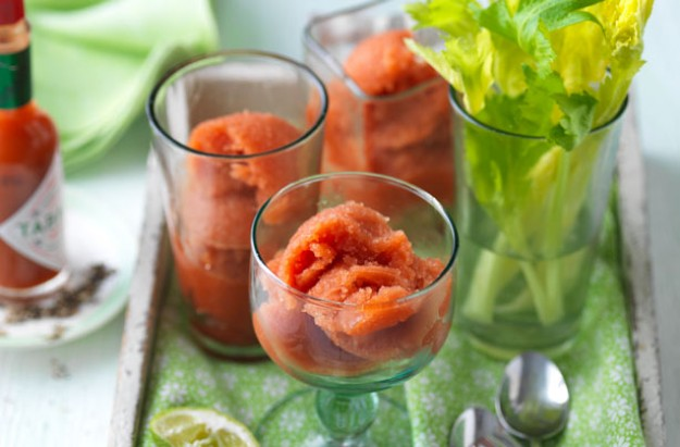 Tomatoes in the summer are full of colour and bursting with sweet, intense flavour. This Bloody Mary sorbet is easy to make and very refreshing as a starter, between courses or as a dessert!