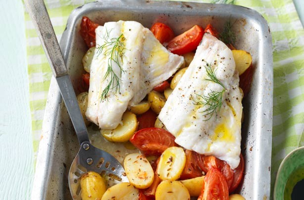 Roast haddock supper