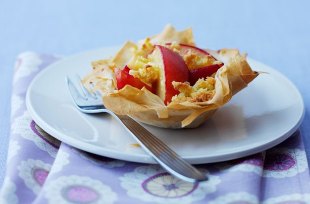 Plum and marzipan filo tarts