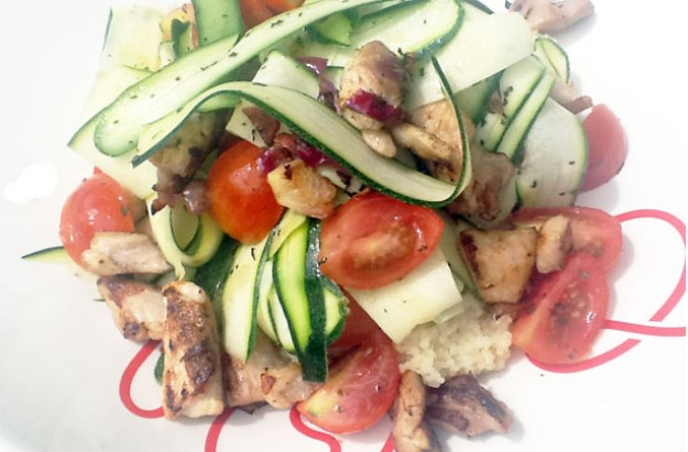 Chicken, tomato and courgette couscous salad