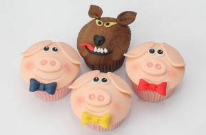 Three little pigs cupcakes