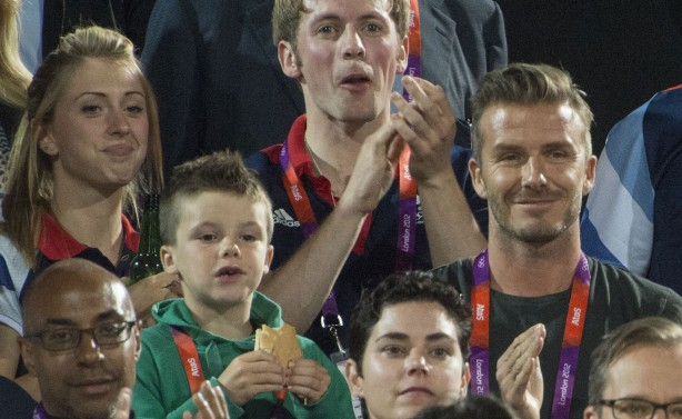 David and Cruz Beckham at the Olympics