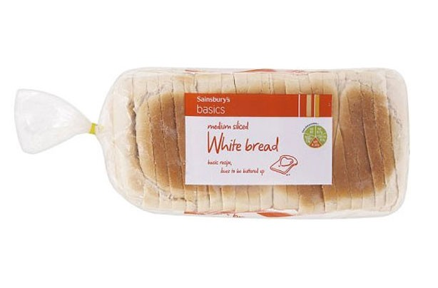 Sainsburys basics white medium sliced bread