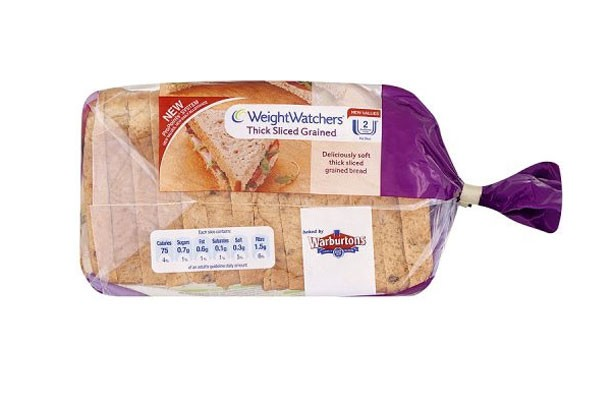 Warbutons weight watchers thick sliced grained bread
