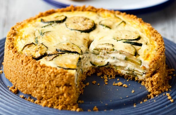 Courgette, garlic and herb oaty crust quiche