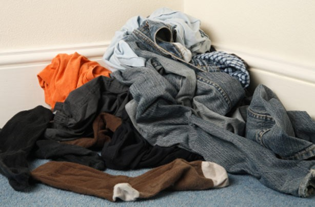 A man's dirty clothes on the floor