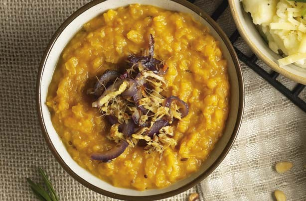 Spicy butternut dhal mash
