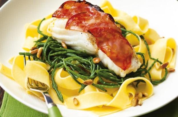 Cod with fettucine
