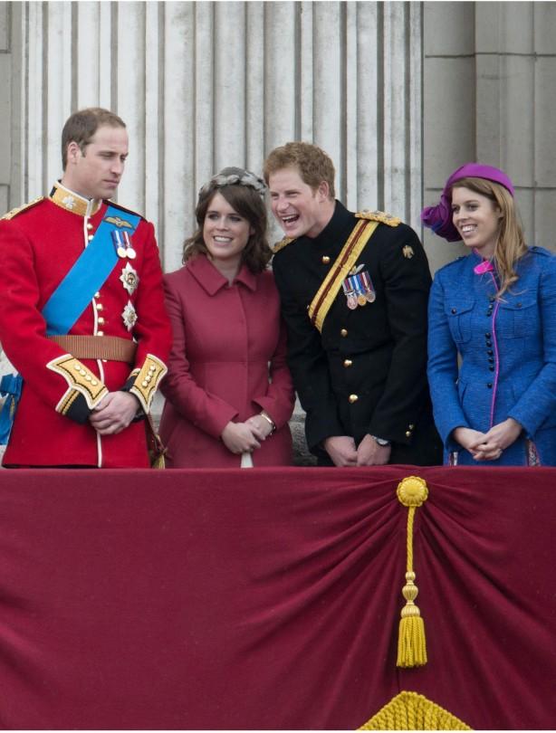 William, Beatrice, Harry & Eugenie laughing