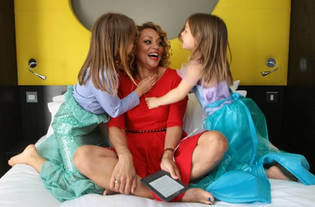 Angela Griffin and her daughters at Butlin's