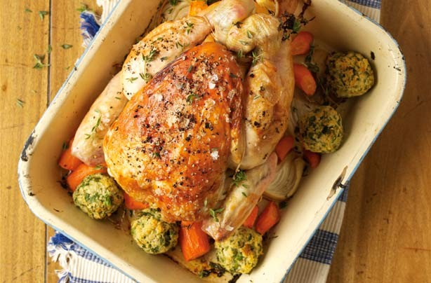 Roast chicken with stuffing balls