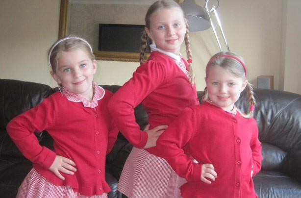 Ruby, Charlotte and Violet's first day at school