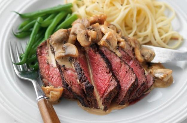 Steak with mushroom suace