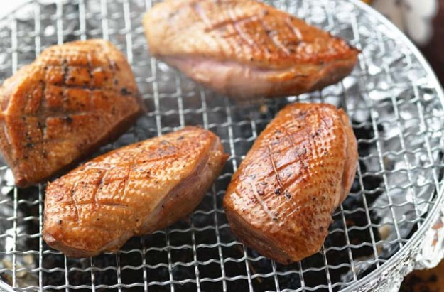 Hot-smoked duck breasts with darjeeling