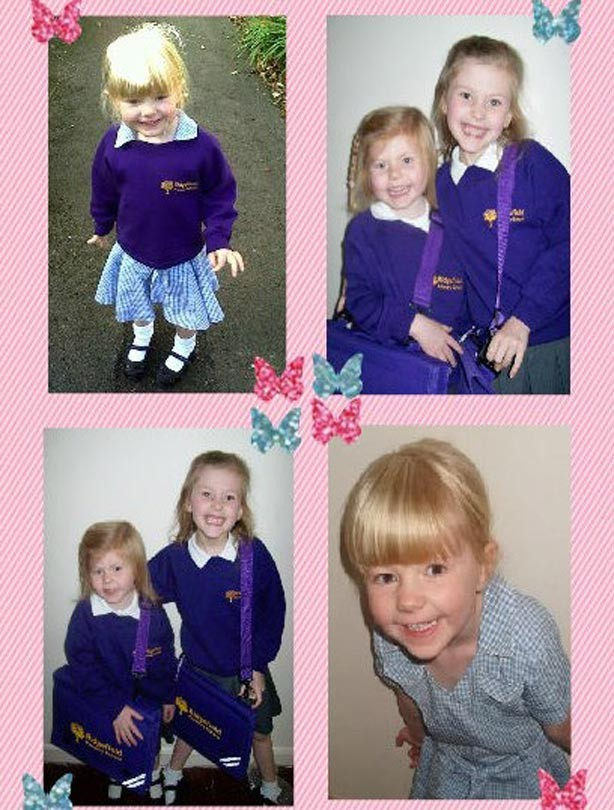 Charlie Kirby's 3 daughters first day at school photo