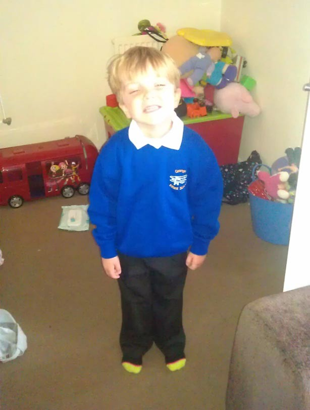 Jade's son's first day at school picture