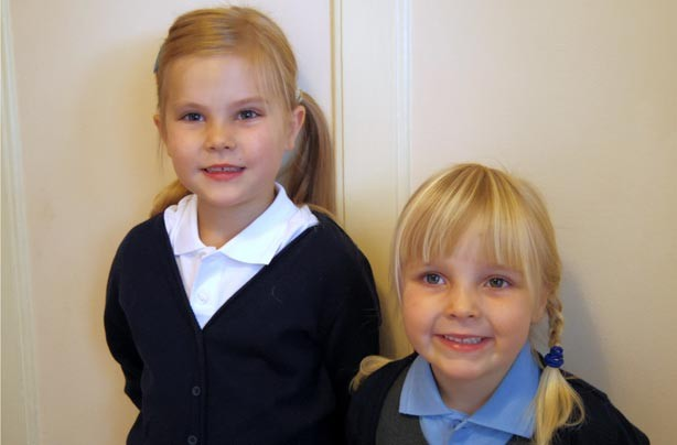 Eloise and Josie's first day at school picture