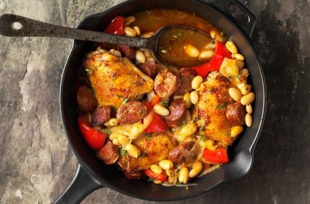 Spanish chicken with beans recipe
