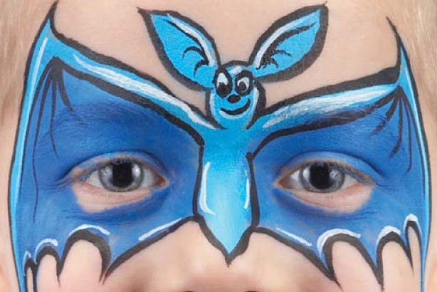 Bat face paint idea: step 5