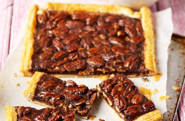 Full of nutruents and flavour, nuts are at their best right now, so try our delicious pecan and chocolate tart. We use ready made puff pastry for a quick make.