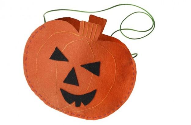 Pumpkin felt treat bag