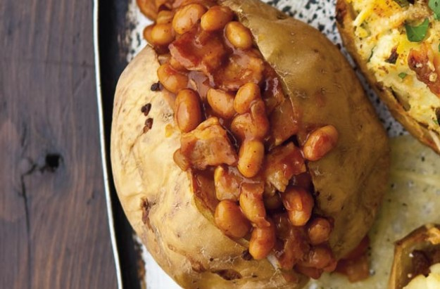 Bacon and spicy bean baked potato