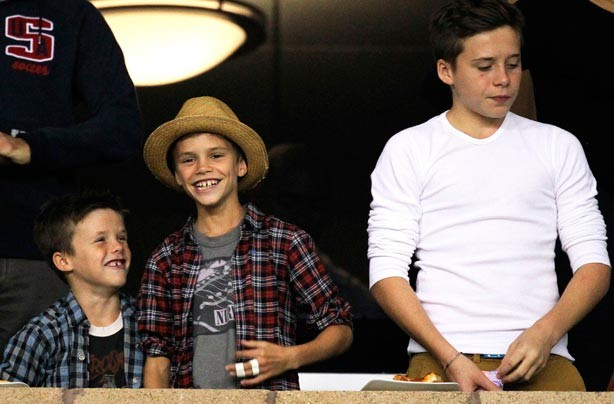 Cruz, Romeo and Brooklyn Beckham