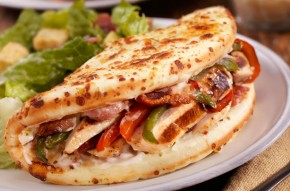 Chicken, bacon and pepper flatbreads recipe
