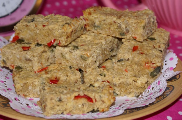 Red pepper and cheese flapjacks