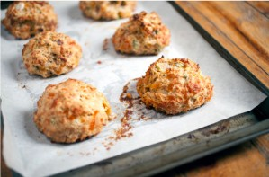 Free-form cheese and chutney scones