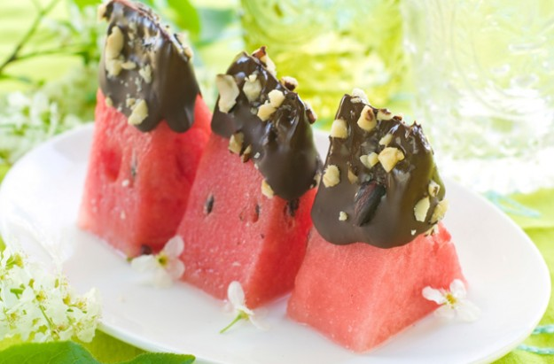 Chocolate-dipped watermelon