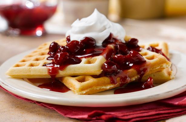 Waffles with almond cherry sauce recipe - goodtoknow