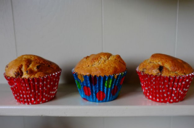 Clementine and raisin muffins