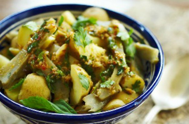 Warm spicy potato and artichoke salad