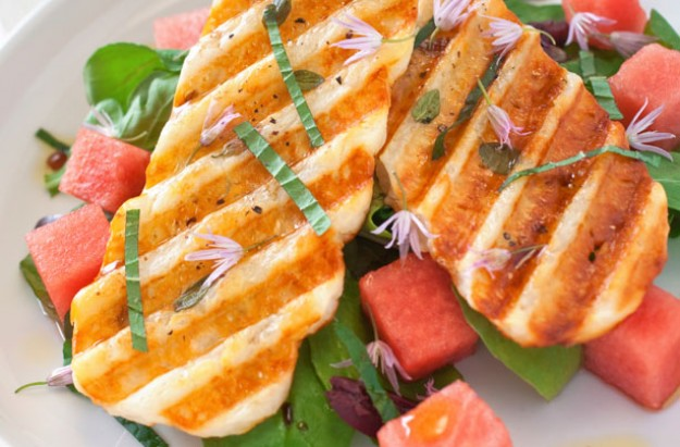 Griddled halloumi and watermelon salad